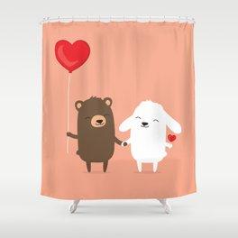 Cute cartoon bear and bunny rabbit holding hands Shower Curtain