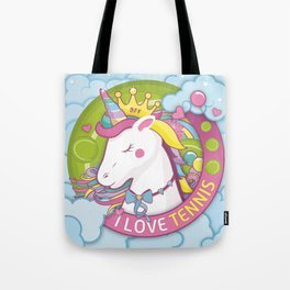 Girls Tennis Player Team Pink and Green Unicorn Tote Bag