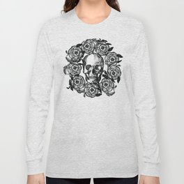 Rose Wreath With Skull Long Sleeve T-shirt