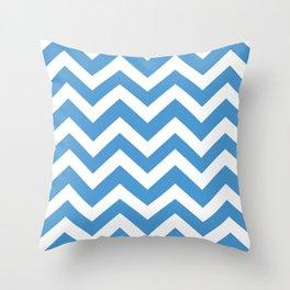 Celestial blue - blue color - Zigzag Chevron Pattern Throw Pillow