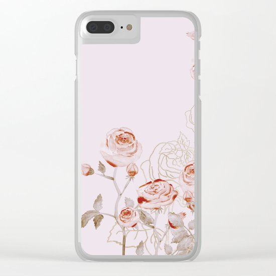 FRENCH PALE ROSES Clear iPhone Case