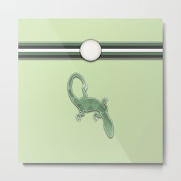 Green Lizard Stripes Animal Design Pattern Metal Print