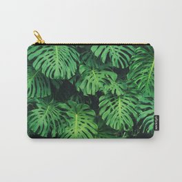 Monstera leaf jungle pattern - Philodendron plant leaves background Carry-All Pouch