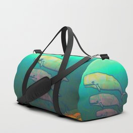 Whales Swimming Together Duffle Bag
