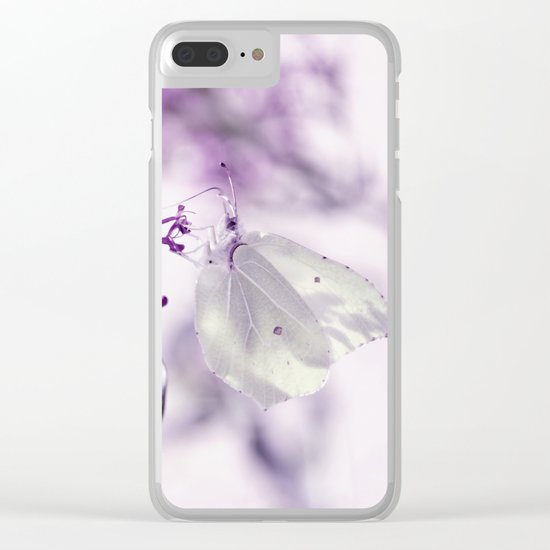 Butterfly macro white 55 Clear iPhone Case