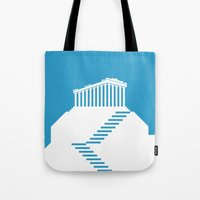 greece Tote Bags featuring GREECE by Marcus Wild