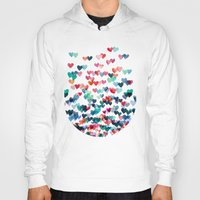 watercolour Hoodies featuring Heart Connections - watercolor painting by micklyn