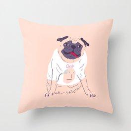 little pug wearing a t-shirt Throw Pillow