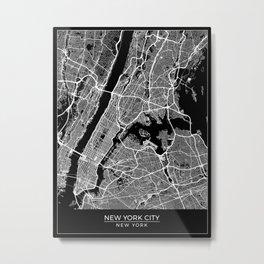 New York City, New York Map Art (Black) Metal Print