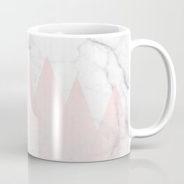 White Marble Background Pink Abstract Triangle Mountains Coffee Mug