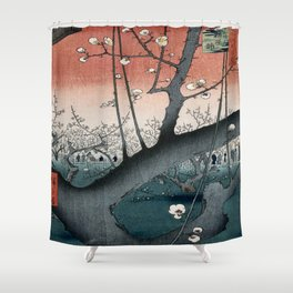 botanical ukiyo-e painting nature garden spring japanese plum flower Shower Curtain