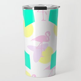 Flamingo vibrant motif Travel Mug
