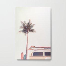 Retro Van Camper, Palm tree and Surfboards Metal Print