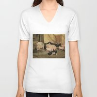 pigs V-neck T-shirts featuring Pigs' Party by Vito Fabrizio Brugnola