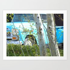 The Old Blue Truck Art Print
