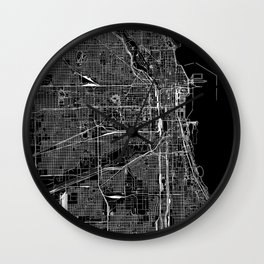 Chicago Black Map Wall Clock