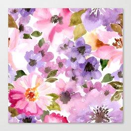 Pink Purple Watercolor Flowers Canvas Print