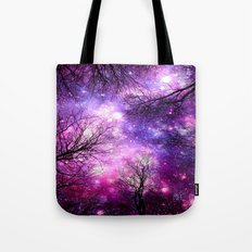 black trees fuchsia purple space Tote Bag