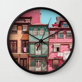 Messy houses in Porto Wall Clock