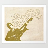 dylan Art Prints featuring Dylan by Kayla Cole