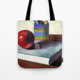 Teachers Desk Watercolor Painting Tote Bag