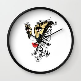 Butterfly mask Wall Clock