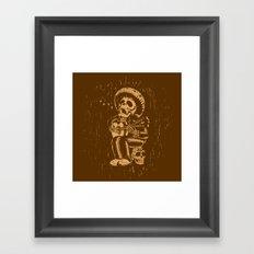 Dia De Los Muertos woodcut Framed Art Print