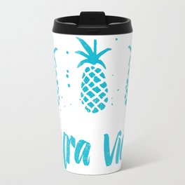 Pura Vida Pineapples in Blue Travel Mug