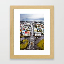 Looking Down on the Colored Buildings Down to the Sea in Reykjavik Framed Art Print