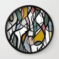 kandinsky Wall Clocks featuring Geometric Abstract Watercolor Ink by Ashley Grebe