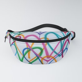 Multicoloured Love Hearts Graffiti Repeat Pattern Fanny Pack