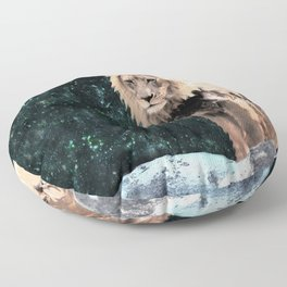 Lion King of the Emerald Panthera Galaxy Floor Pillow