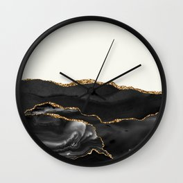 Eternity Black Agate with Gold on Cream Wall Clock