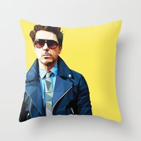 robert downey jr Throw Pillows featuring Robert Downey Jr - Low Poly Vector Art by khitkhat