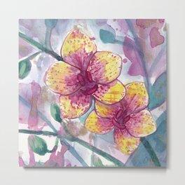 Orchid Splatter Metal Print