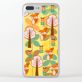 Foxes in the forest Clear iPhone Case