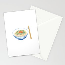 Watercolor Illustration of Japanese Cuisine - Salmon chazuke | 三文鱼茶泡饭 Stationery Cards