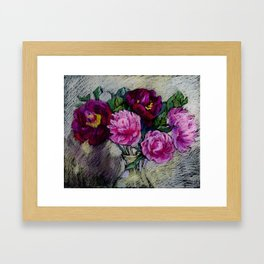 Peonies in a vase. Soft pastel painting. Framed Art Print