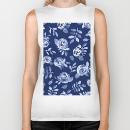 Hand painted navy blue white watercolor floral roses pattern Biker Tank