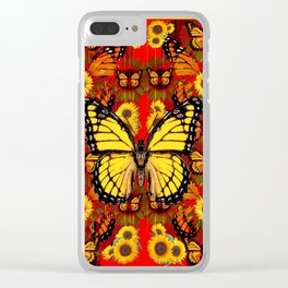 COFFEE BROWN MONARCH BUTTERFLY SUNFLOWERS Clear iPhone Case