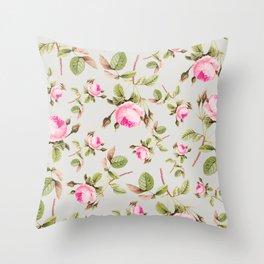Flowers, Pink, Gray, Botanical, Vintage, Pattern, Modern art Throw Pillow