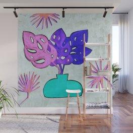 Pastel Monstera Leaves Wall Mural