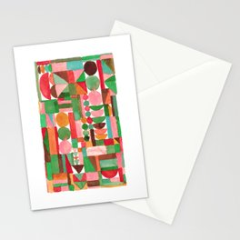 Stacked geometrics in pink and green Stationery Cards