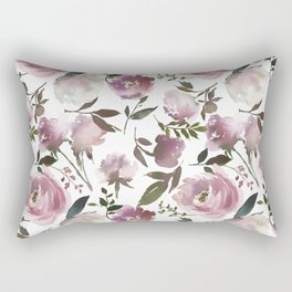 Modern hand painted ivory purple pink watercolor roses Rectangular Pillow