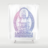 sacred geometry Shower Curtains featuring Sacred Geometry 2 by Hazel Bellhop
