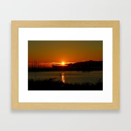 Sunset Over Columbia River At Astoria Harbor Framed Art Print
