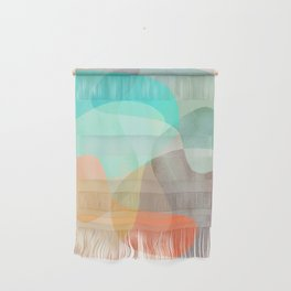 Shapes and Layers no.29 - Blue, Orange, Gray, abstract painting Wall Hanging