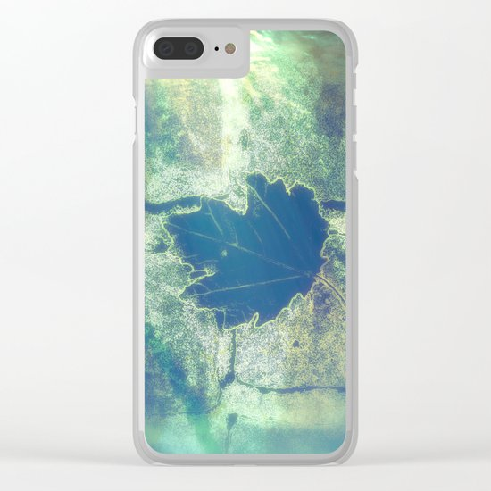 Blue leaf in a rainy day Clear iPhone Case