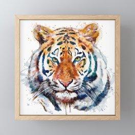 Tiger Head watercolor Framed Mini Art Print