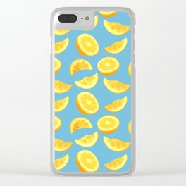Lemon Slices and Wedges on blue Clear iPhone Case